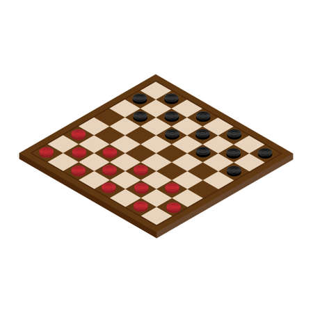 raster illustration isometric checkerboard with checkers. Game concept. Board game. Hobby. checkers on the playing field for a game.