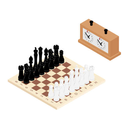 Wooden chess board with chess pieces and chess clock. Isometric view. raster Stock Photo