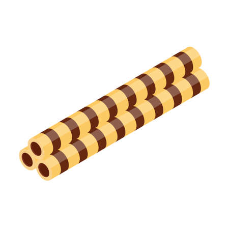 Crispy Wafer Sticks with Chocolate or Cocoa filled isolated on white background isometric view