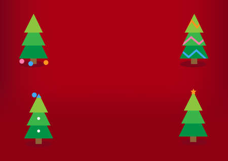Colorful christmas trees with decorations, red background. Holiday's Background