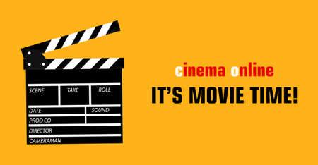 Online cinema art movie watching with film-strip cinematography concept. raster illustration.