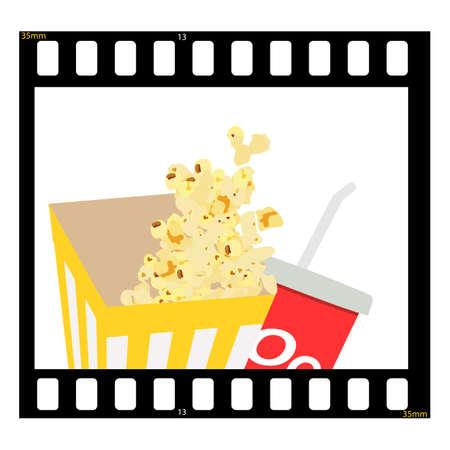 Movie film cinema banner template design. Cinema background with popcorn, drink and filmstrip. Theater cinematography poster. Online cinema art movie watching. Movie raster background.