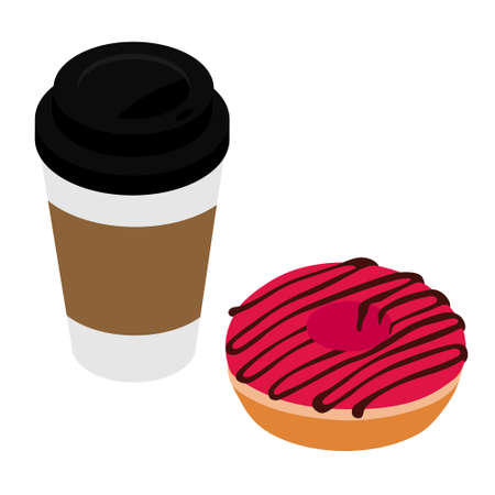 Donut and take away coffee isolated on white background. Disposable coffee cup and sweet dougnut. Isometric view. raster Stock Photo
