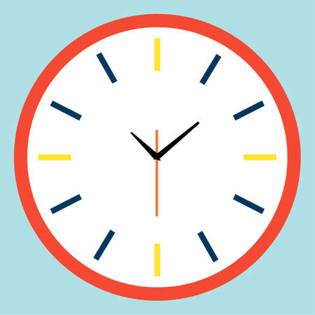 Clock icon in flat style, timer on color background. raster design element