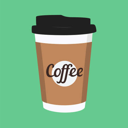 raster illustration disposable coffee cup icon on green background. Coffee cup logo Stock Photo