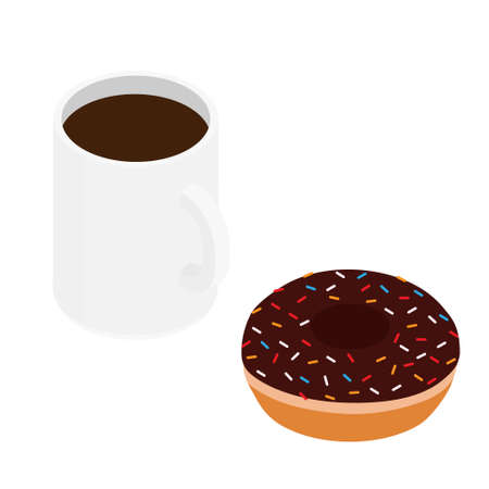 Coffee mug and chocolate donut. Isolated on a white. raster. Isometric view