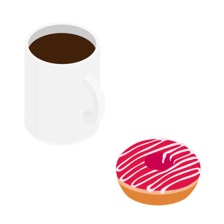 Coffee mug and sweet strawberry donut. Isolated on a white. raster. Isometric view