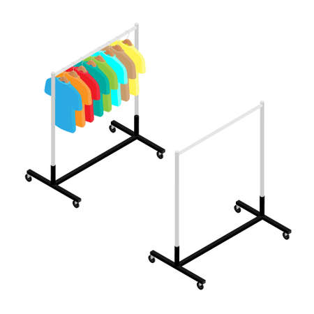 Colorful T-shirt on hanger on clothing rack and empty wardrobe rack fashion store isometric view
