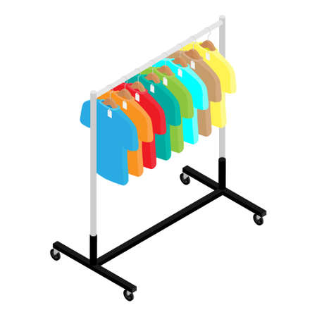 Colorful T-shirt with price tags on hanger on clothing wardrobe rack fashion store isometric view