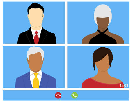Talking to colleagues about plan in video conference. Multiethnic business team online meeting in video call. Group of people smart working from home Stock Photo