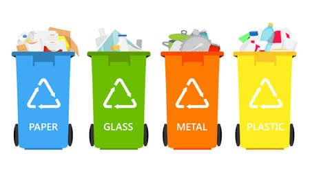 Trash in garbage cans with sorted garbage raster icons. Recycling garbage separation collection and recycled isolated on white background