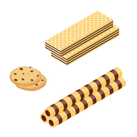 Chocolate or Cocoa cookie, waffle and crispy wafer sticks isometric view isolated on white background