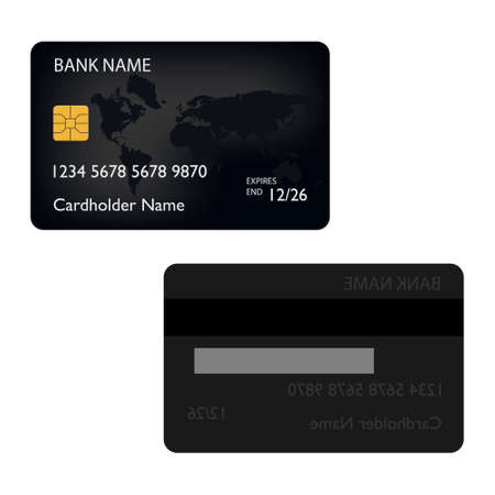 Black bank credit debit card front and back view raster