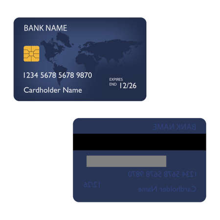 Blue bank credit debit card front and back view raster
