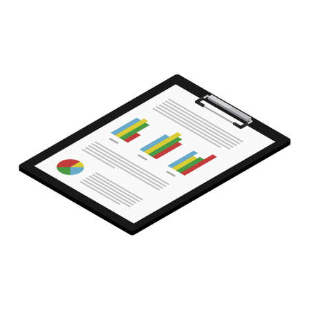 Report, business report with graphs on black clipboard. Report icon isometric view. raster