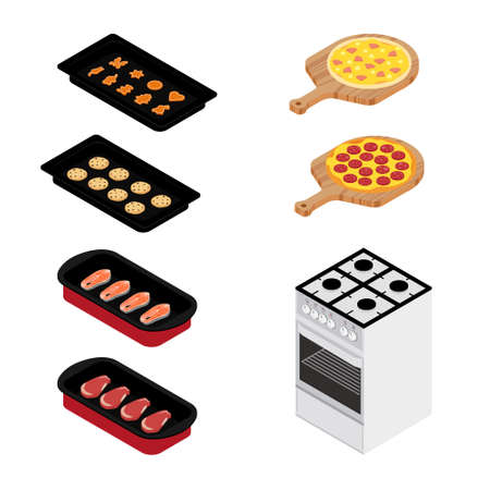 Set of various plates, forms of food and kitchen stove isolated on white background. Pizza, meat, fish and cookies. For restaurants menu design. Isometric view. raster Stock Photo