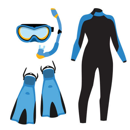 Diving equipment raster icon set with blue diving mask and snorkel or scuba, flippers and diving suit. Diving costume