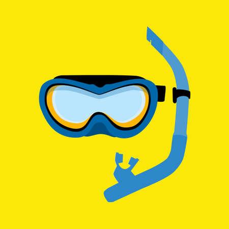 Blue diving maks, diving tube, swimming equipment, snorkeling