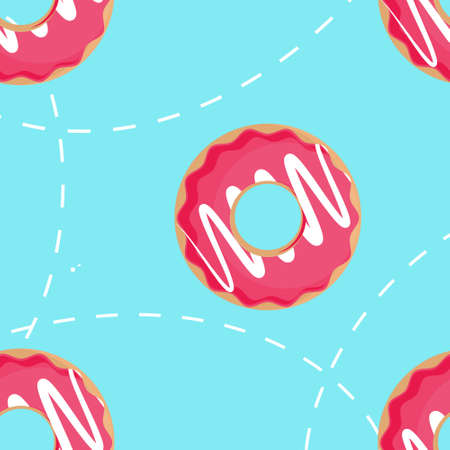 Sweet summer  pattern with donuts raster illustrations