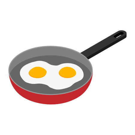 Fried eggs in a frying pan isolated. Food. Breakfast. Healthy food.