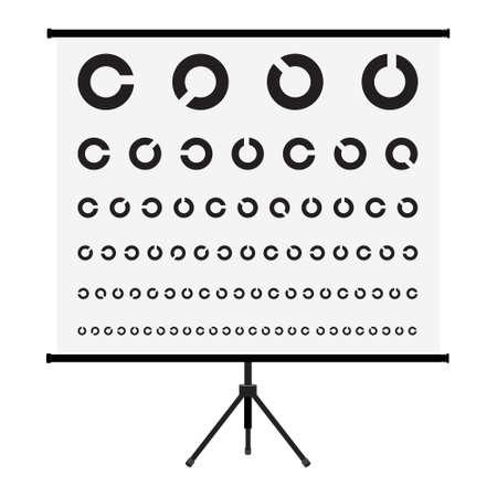 Eye Test Chart. Vision Exam. Optometrist Check. Medical Eye Diagnostic. Sight, Eyesight. Optical Examination. Isolated