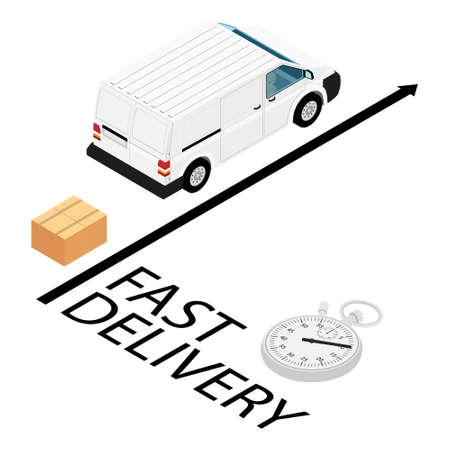 Fast and free delivery by van truck. raster. Food service. Stock Photo