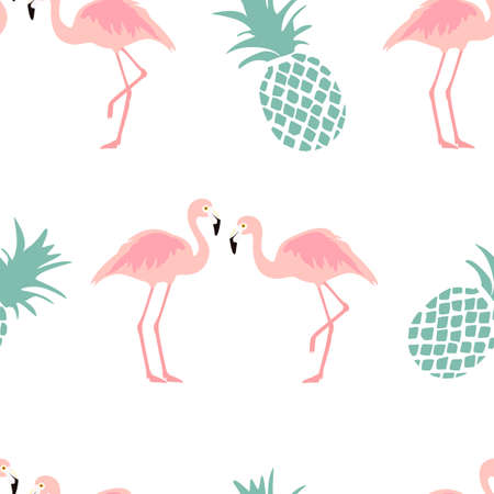 raster illustration  pattern with pink flamingo. Exotic bird Stock Photo