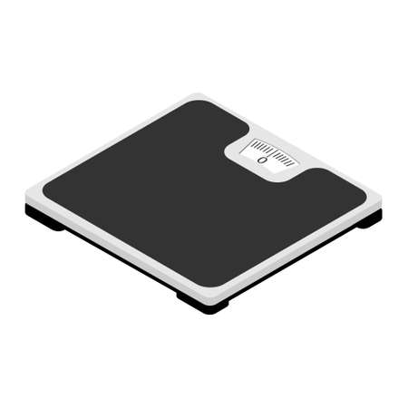 Bathroom floor scales isometric view isolated on white background. Weight loss concept. raster