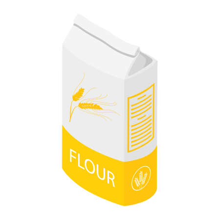 Bread flour paper bag, pouch or package design template isolated on white background isometric view. raster Stock Photo