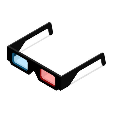 Black 3d glasses isolated on white background. Isometric view.