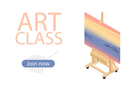 Painting at art school. Art class join now. Isometric view.