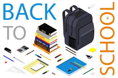 Back to school web banner. Student bag, backpack and class supplies. Isometric view.