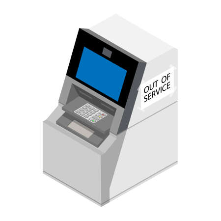 Out of service concept. ATM isometric view isolated on white background. Automated teller machine.
