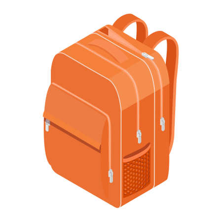 School Backpack. Orange backpack for schoolchildren, students, travellers and tourists. Back to School rucksack vector illustrations isolated on white.