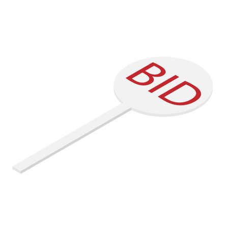 Auction paddle. BID. Isometric view.