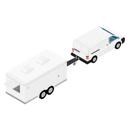 Car with trailer isolated on white background. Isometric view. Vector