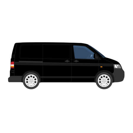 Hi-detailed Cargo Delivery Van template. Mock up Template for Branding and Corporate identity design on transport. Realistic Black Cargo Van.