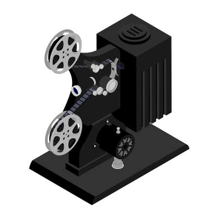 Old retro cinema movie projector isolated on white background. Isometric view.
