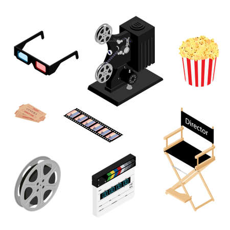 Cinema icons set. Movie industry objects. Colorful cinema illustrations isolated on white. Design elements for movie theater. Vector