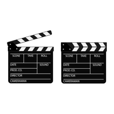 Film clappers boards isolated on white background. Blank movie cinema clapper.