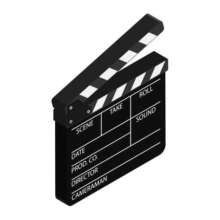 Film clapper board isolated on white background. Blank movie cinema clapper. Vectores