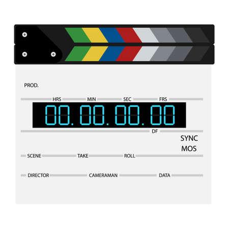New modern film clapper board isolated on white background. Blank movie cinema clapper.