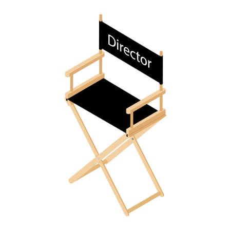 Film director chair illustration. Wooden movie director chair. Director chair isolated Vectores