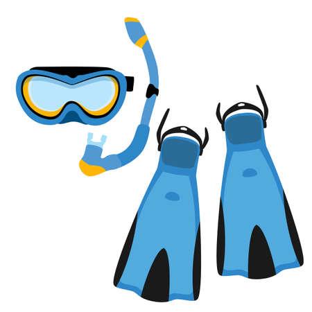 Blue diving maks, diving tube, swimming equipment, flippers