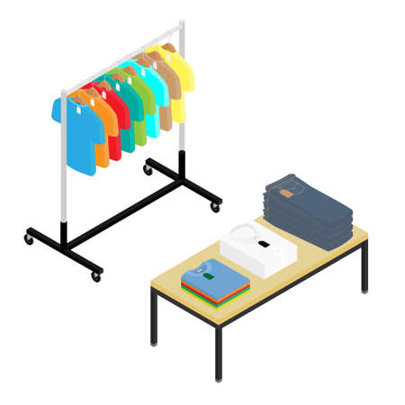 Fashion stylish clothes at clothing store or apparel boutique. Trendy garments at shop. Fast fashion and mass market.