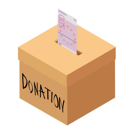 Donation and charity concept. Putting euro banknote into box for donation. Isometric view.