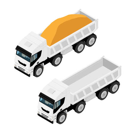 Empty and full of grit sand dump truck isolated on white background. Isometric view