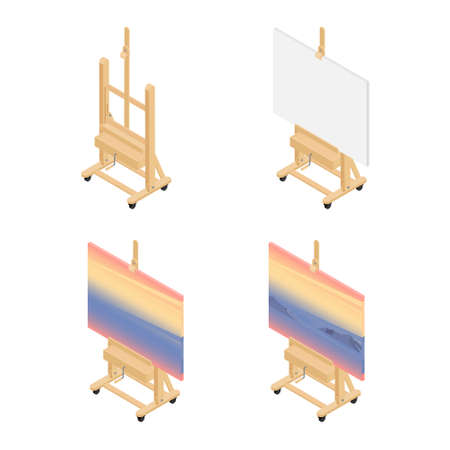 Art drawing class concept. Paint desk easel empty, with white canvas paper, with paintings.