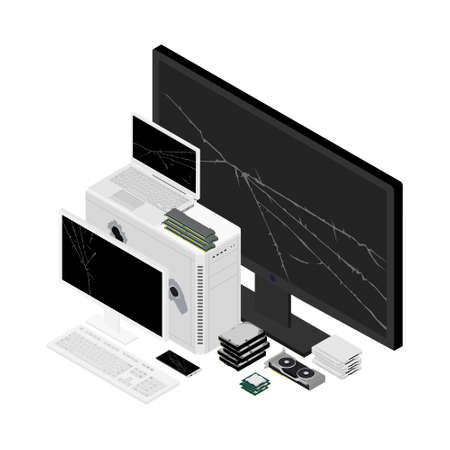 E-waste electronic equipment pile. Waste management concept. Isometric view.