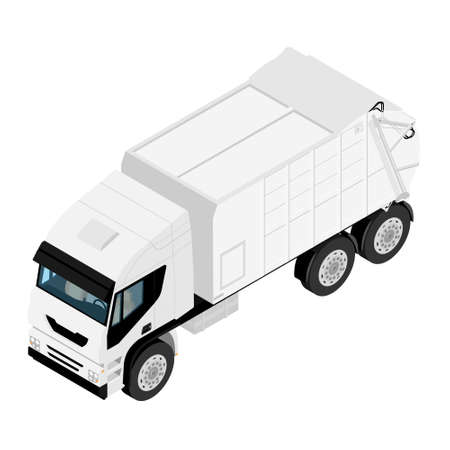 Garbage truck isolated on white background. Vehicle for waste. Isometric view. Vector